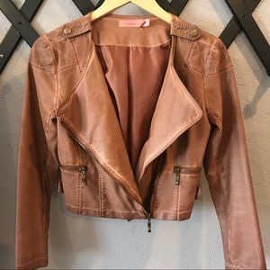 Tan small FAUX leather Motorcycle jacket